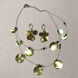 She'll disc necklace clip on earring set
